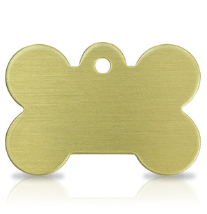 TaggIT Brass Series Large Bone Dog Tag Pet Tag iMarc Tag