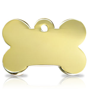 TaggIT Engraving Prestige Large Bone Gold iMarc Pet ID Tag
