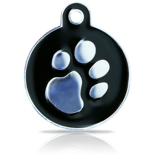 TaggIT Elegance Large Disc Black & Silver Pet Tag iMarc Tag