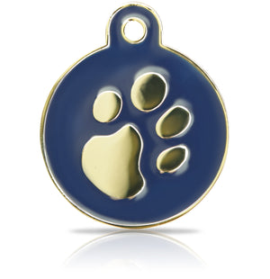 TaggIT Elegance Large Disc Blue & Gold Pet Tag iMarc Tag