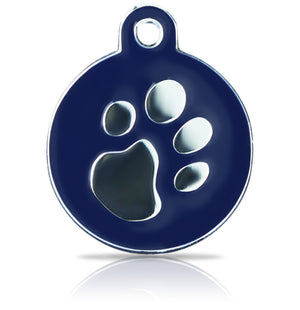 TaggIT Elegance Large Disc Blue & Silver Pet Tag iMarc Tag
