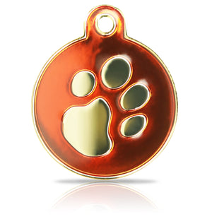 TaggIT Elegance Tag Red & Gold Large Disc iMarc Pet Tag