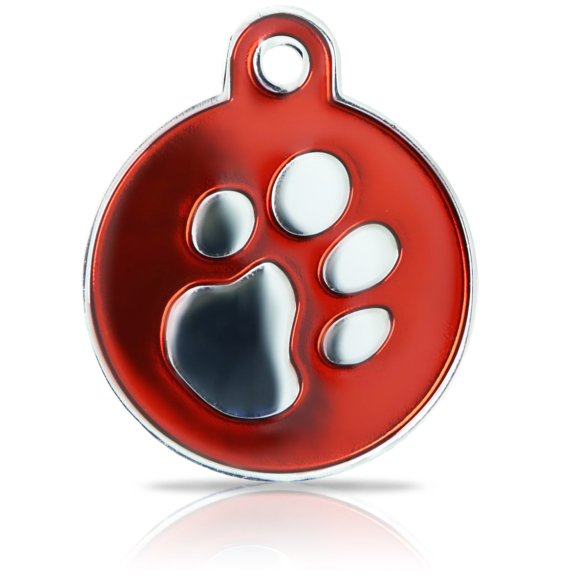 TaggIT Elegance Tag Red & Silver Large Disc Pet Tag