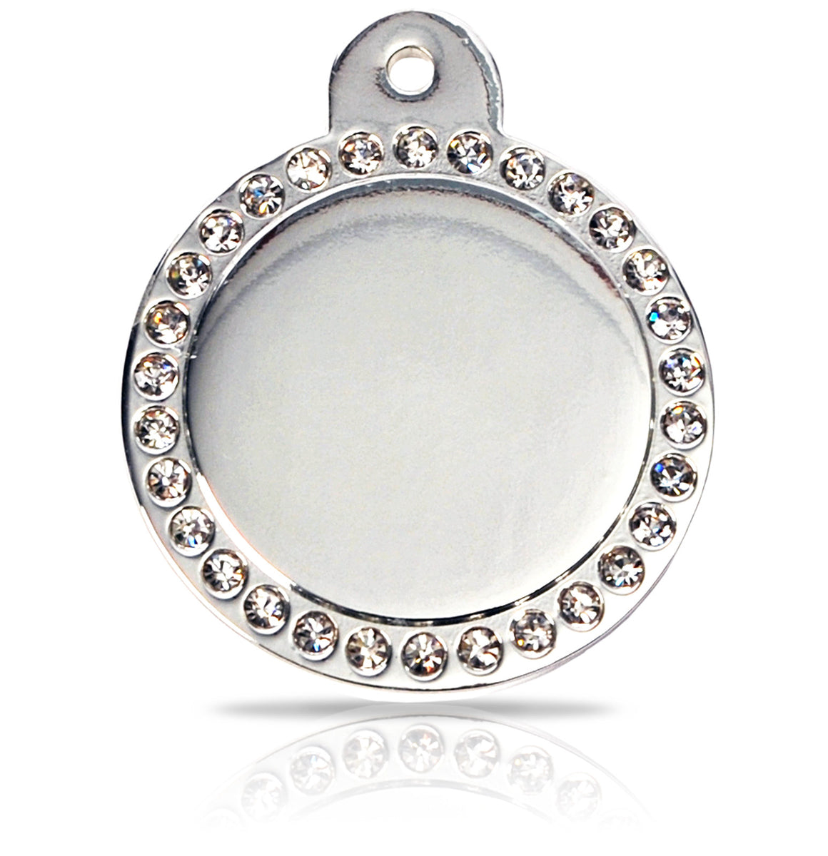TaggIT Glamour Large Disc Silver Diamond iMarc Pet Tag
