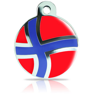 TaggIT Patriot Norwegian Flag Large Disc iMarc Pet ID Tag