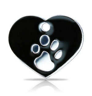 TaggIT Elegance Large Heart Black & Silver iMarc Pet Tag