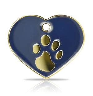 TaggIT Elegance Large Heart Blue & Gold iMarc Pet Tag