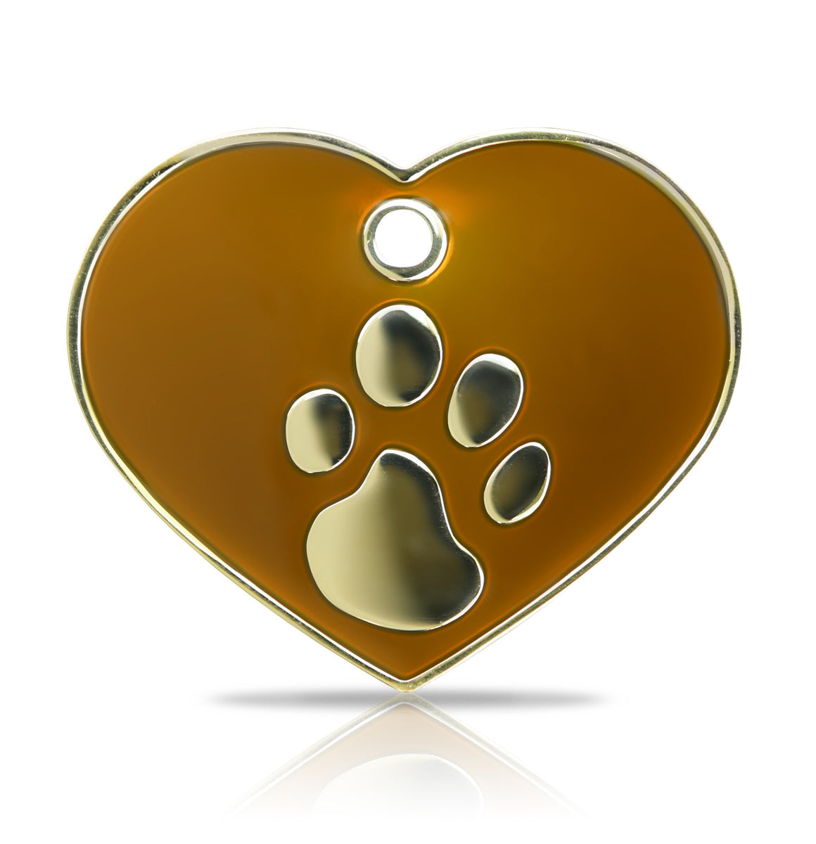 TaggIT Elegance Tag Large Heart Brown & Gold Pet Tag iMarc Tag