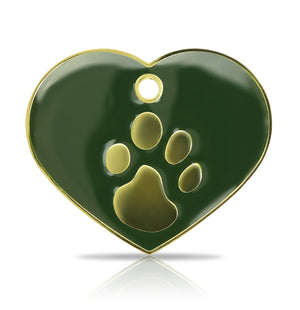 TaggIT Elegance Large Heart Green & Gold iMarc Pet Tag