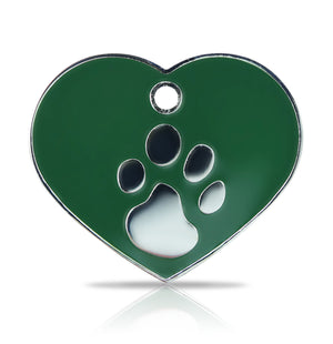 TaggIT Elegance Large Heart Green & Silver iMarc Pet Tag