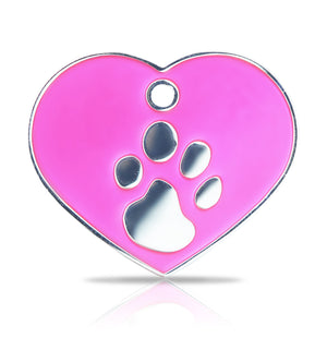 TaggIT Elegance Large Heart Pink & Silver iMarc Pet Tag