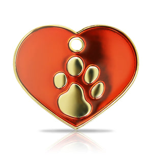 TaggIT Elegance Red & Gold Large Heart Pet ID Tag