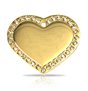 TaggIT Glamour Large Heart Gold Diamond Pet Tag iMarc Pet Tag