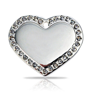 TaggIT Glamour Large Heart Silver Diamond Dog Tag iMarc Tag