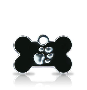 TaggIT Elegance Small Bone Black & Silver iMarc Dog Tag
