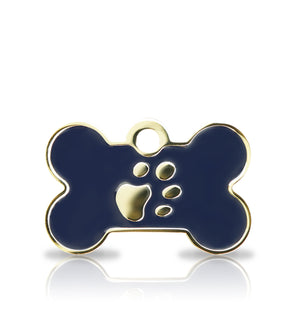 TaggIT Elegance Small Bone Blue & Gold iMarc Pet Tag
