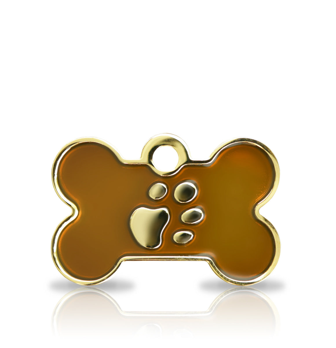 TaggIT Elegance Brown & Gold Small Bone Dog ID Tag