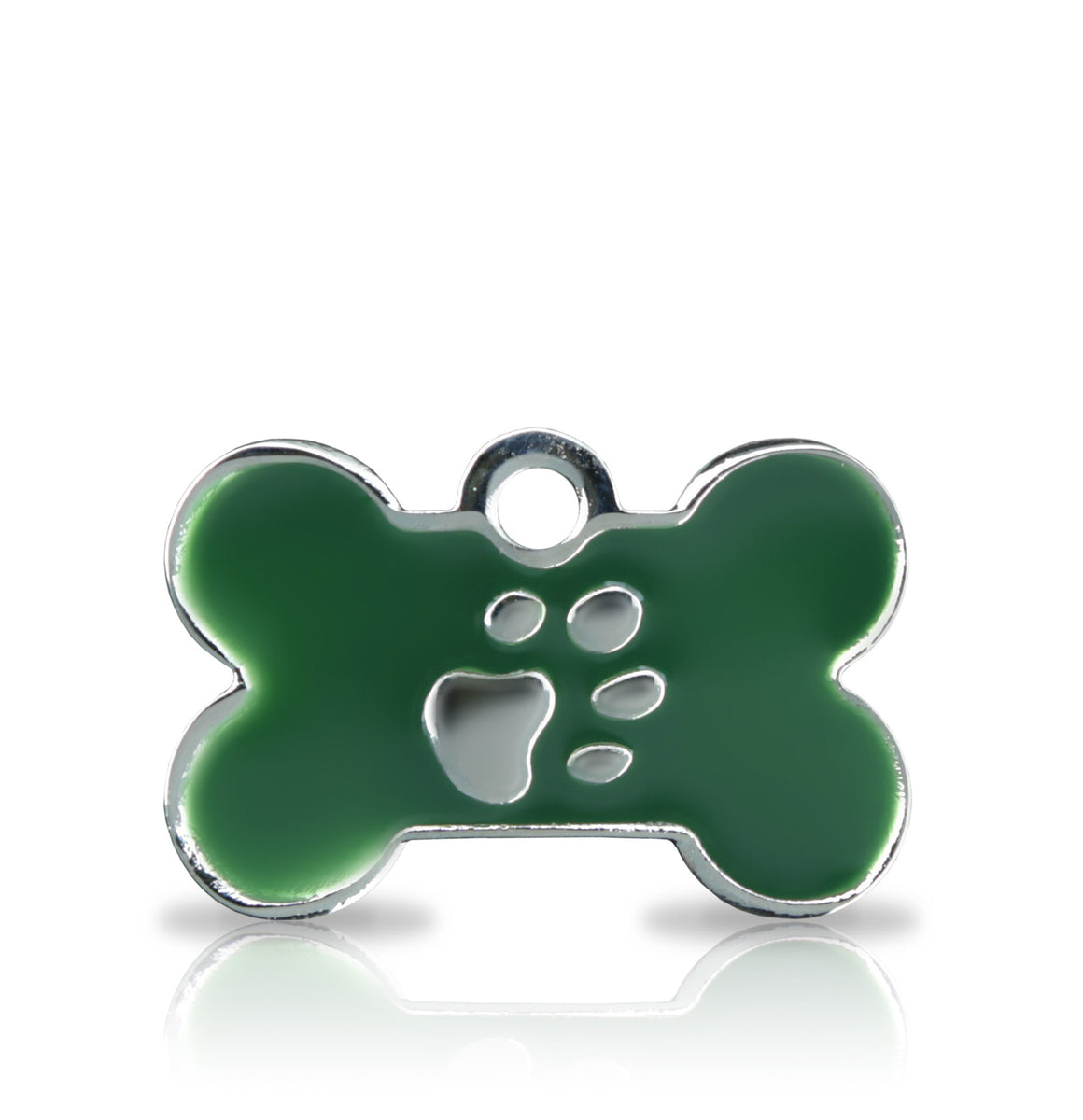 TaggIT Elegance Green & Silver Small Bone Dog ID Tag