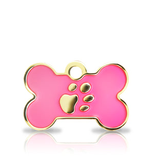 TaggIT Elegance Small Bone Pink & Gold iMarc Dog Tag