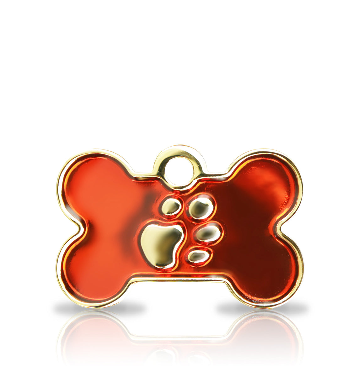 TaggIT Elegance Red & Gold Small Bone Dog ID Tag