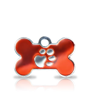 TaggIT Elegance Small Bone Red & Silver iMarc Dog Tag