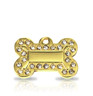 TaggIT Glamour Small Bone Gold Diamante Dog Tag