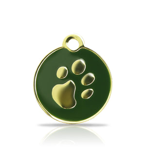 TaggIT Elegance Small Disc Green & Gold iMarc Pet Tag