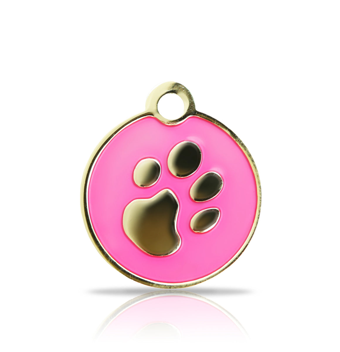 TaggIT Elegance Small Disc Pink & Gold Paw Print Tag