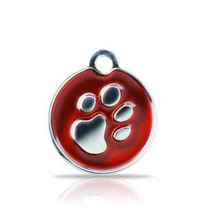 TaggIT Elegance Small Disc Red & Silver iMarc Pet Tag