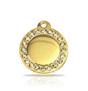 TaggIT Glamour Small Disc Gold Diamante Dog Tag iMarc Dog Tag