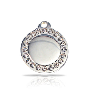 TaggIT Glamour Small Disc Silver Diamond iMarc Pet Tag