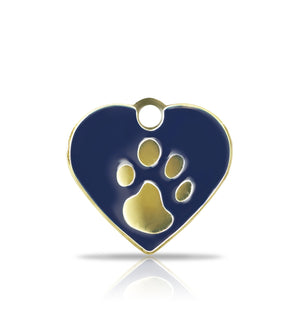 TaggIT Elegance Small Heart Blue & Silver Pet Tag