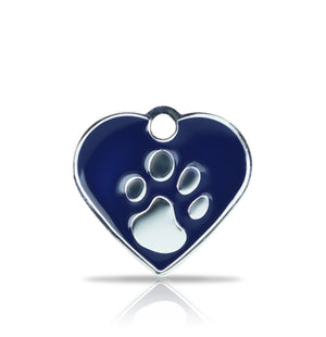 TaggIT Elegance Blue & Silver Small Heart Pet ID Tag