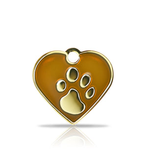 TaggIT Elegance Small Heart Brown & Gold iMarc Pet Tag