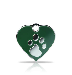 TaggIT Elegance Small Heart Green & Silver iMarc Pet Tag