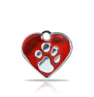 TaggIT Elegance Small Heart Red & Silver Paw Print Tag