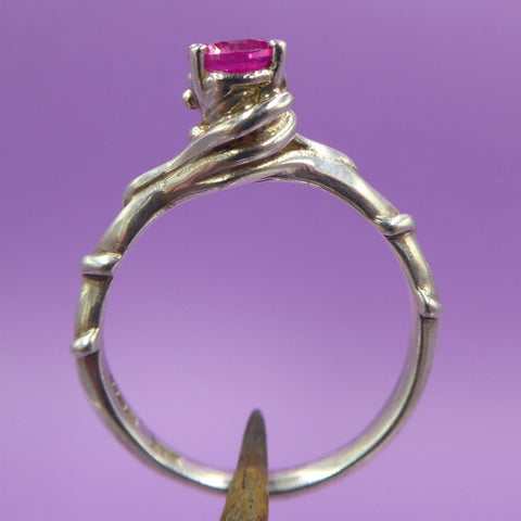Entwine Silver Ring With Iolite/Synthetic Ruby