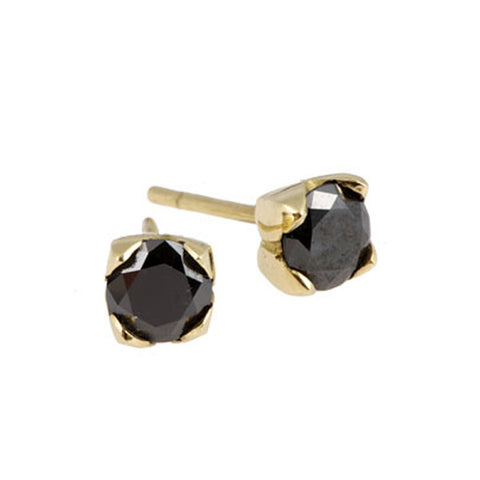 Tulip 18ct Yellow Gold 1 Carat Black Diamond Earrings