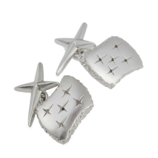 Trinity Silver Cross Back Cuff Links