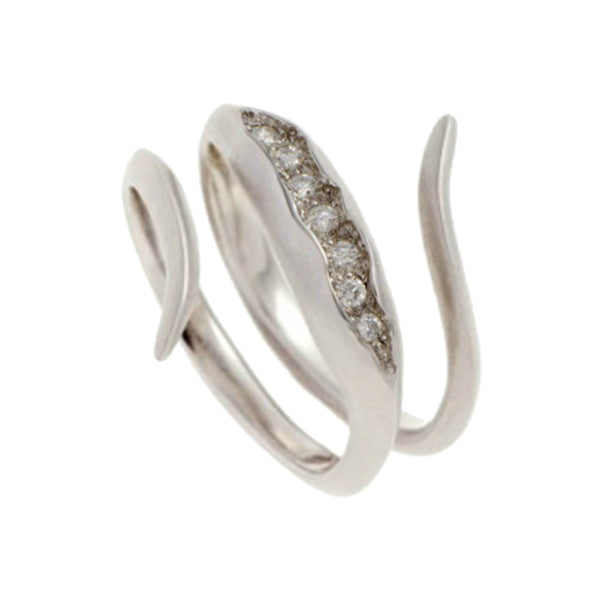 Triffid 18ct White Gold VR3 Coil Ring with White Diamonds