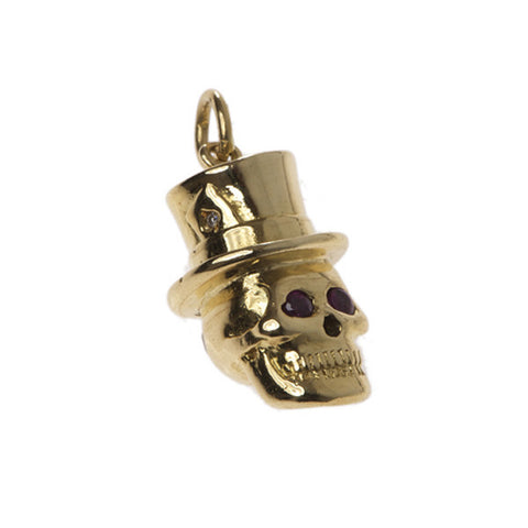 Skull In A Hat Charm in 18ct Yellow Gold