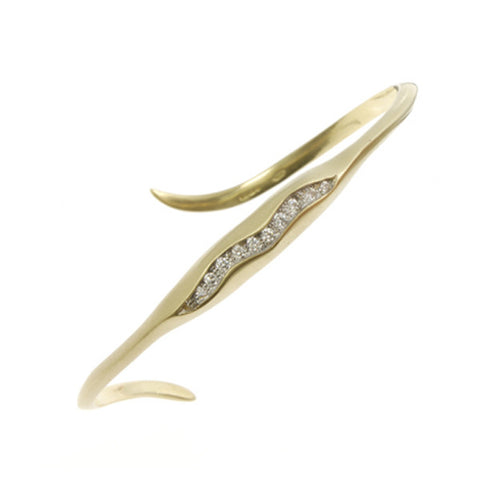 Triffid 18ct Gold Cuff with Diamonds