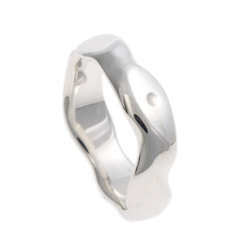 Carved Silver Medium Ring