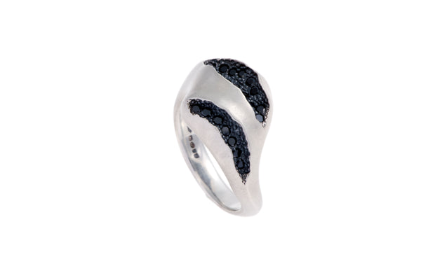 Triffid silver ring Pave set with Black Diamonds