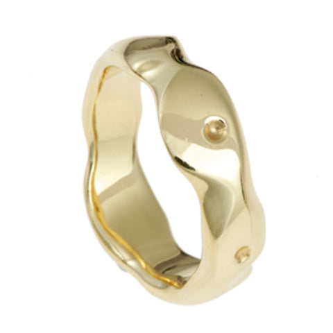 Carved 18ct Yellow Gold Medium Ring