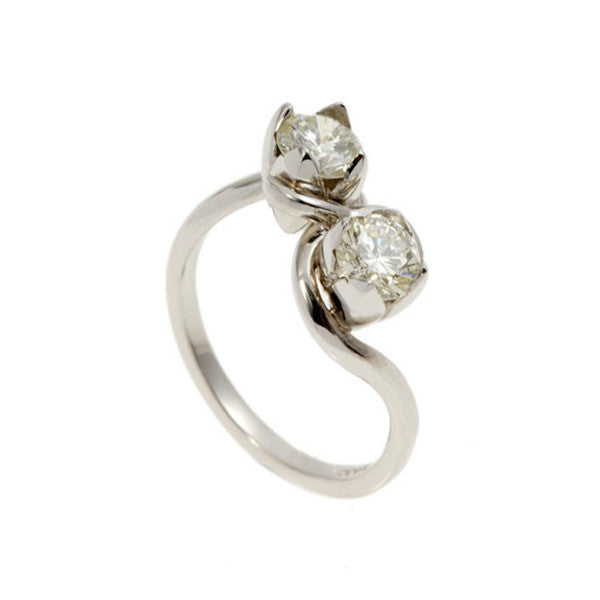 Tulip Platinum Twin Diamond Ring