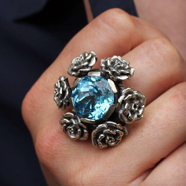 Rock 'n' Rose Silver Heavy Ring with Sky Blue Topaz