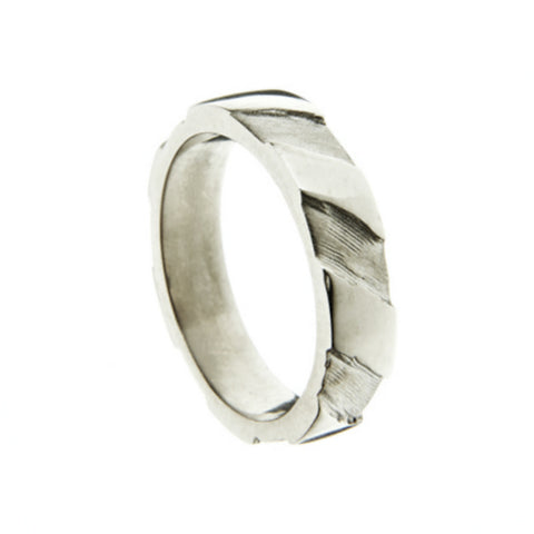 Striped 18ct White Gold 5mm Band