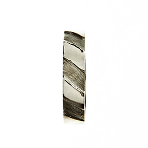 Striped 9ct White Gold 5mm Band