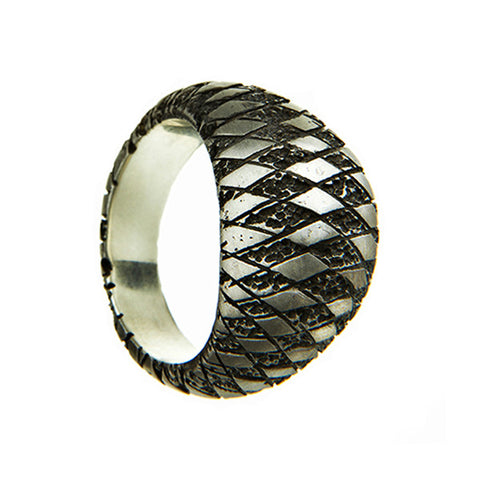 Chequered Silver Bombé Ring